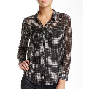 The Kooples Houndstooth Print Button Up Shirt Sz L